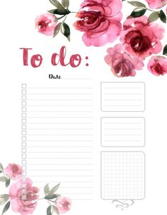 To do list, planner, watercolor, peony Pink Planner, To Do Planner, Daily Planner Pages, Monthly Planner, Student Planner, Goals Planner, Budget Planner, To Do Lists Printable, Printable Planner Pages
