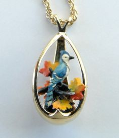 Blue Jay pendant necklace. Sterling silver by JewelryOnVintageLane
