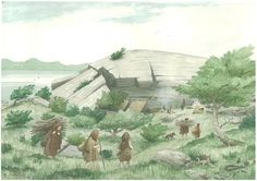 Reconstruction of the Mesolithic settlement at Sand, Applecross in Wester Ross by Phil Austin. Thanks to the Society of Antiquaries of Scotland for permission to reproduce. This image is part of the Scotland's First Settlers Project.