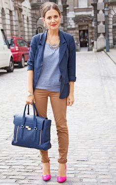 Navy, camel and a pop of pink