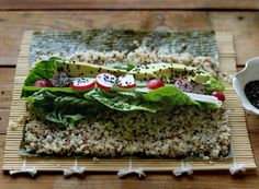 Quinoa Spring Sushi + DIY Quick-Pickled Ginger Recipe bySarah Britton-MY NEW ROOTSblog Anyone who has enjoyed a good sushi meal will tell you that it's not just about the rolls themselves, but ...