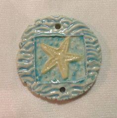 by Sheri Mallery Starfish Beach Ceramic Pendant in Bahama Aqua Blues by SlinginMud, $11.00