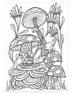 Cute Free Coloring Page With Mice Mushrooms Bird And Flowers By Mariana Musa