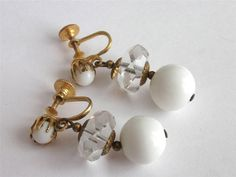 VINTAGE ART DECO CLEAR FACETED GLASS CRYSTAL WHITE GLASS BEAD EARRINGS - CORO