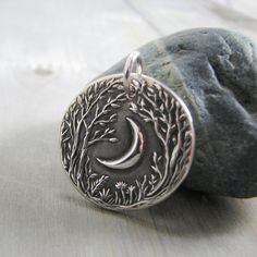 Forest Moon, Personalized Fine Silver Pendant, Handmade in Recycled Silver From…