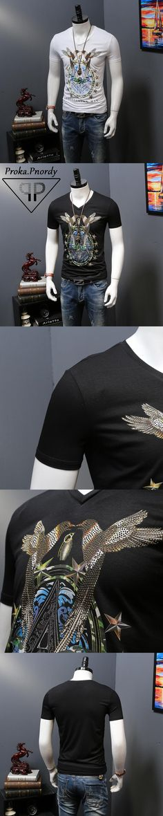 Proka Pnordy Tide Brand Short Sleeve Summer Clothing Men's Rhinestone Bird Printing V Neck Fitness Cotton T Shirts For Men Tees