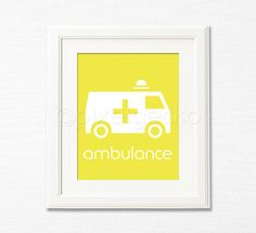 Ambulance  8x10  Kids Room Decor Childrens Wall Art by pixelgecko, $14.90