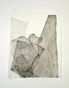 """Untitled from the """"Batholith Etchings"""" series (2009-11) by American artist Eben Goff (b.1977). Aluminum plate monoprint on Rives BFK, 22 x 30 in. via erin louise"""