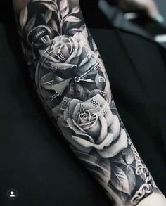 Kir Delgado > Roses & Clock on back of neck tattoos on back on back shoulder tattoos on back on back skull Forarm Tattoos, Cool Forearm Tattoos, Dope Tattoos, Leg Tattoos, Body Art Tattoos, Tattoo Ink, Half Sleeve Tattoos Forearm, Tatoos, Rose Tattoo Forearm