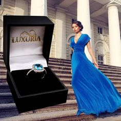 Luxuria semi-precious blue topaz centre stone surrounded by a halo of precious diamond which is also shoulder set. A stunning choice as an engagement or dress ring. Blue Topaz Diamond, Topaz Gemstone, Halo Diamond, Gemstone Engagement Rings, Gemstone Rings, Dress Rings, Black Women Fashion, Cushion Cut, White Gold Rings