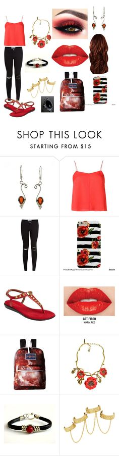 """Scarlet witch"" by karabear3256 ❤ liked on Polyvore featuring T By Alexander Wang, New Look, Aerosoles, Smashbox, JanSport, Oscar de la Renta and House of Harlow 1960"
