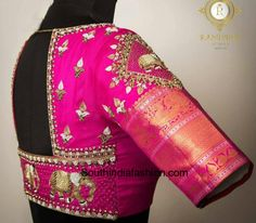Tradition with a twist. Stunning rani pink color bridal designer blouse with elephant design hand embroidery thread and bead work. Wedding Saree Blouse Designs, Fancy Blouse Designs, Traditional Blouse Designs, Wedding Blouses, Traditional Outfits, South Indian Blouse Designs, Maggam Work Designs, Stylish Blouse Design, Lehenga Blouse