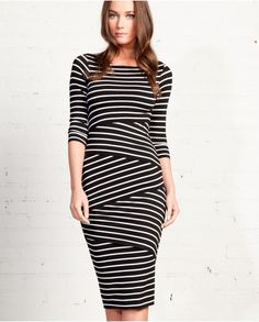 ec3a04d2b05 Each layer of the striped soft stretch jersey knit fabric creates a  flattering shape and look.