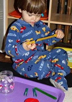 Colored Clothespins on Colored Craft Sticks ~ Tot Tray {33 months} #totschool #tottrays #finemotorskills