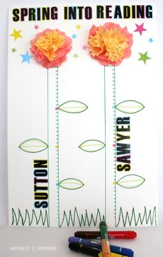 Motivate your kids to read more this spring with this cute DIY springtime reading incentive chart! @Elmer Marquez's #sp