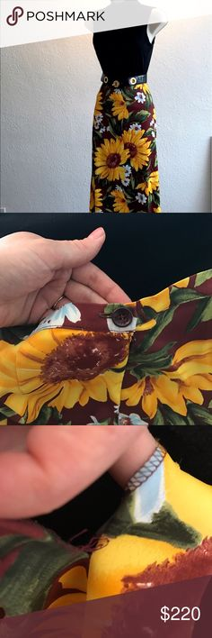 Dolce & Gabbana Sunflower Print Skirt Fun, flirty and elegant - wearing this skirt is a great way to welcome Springtime! Featuring Dolce & Gabbana's signature sunflowers, the skirt has flattering yet forgiving cut. Length falls to just under the knees, depending on height of wearer. Gently used, in great condition. Only flaw is slight wear of stitching on the small slit in back however this is barely noticeable and easily fixed with a few stitches. Dolce & Gabbana Skirts Midi