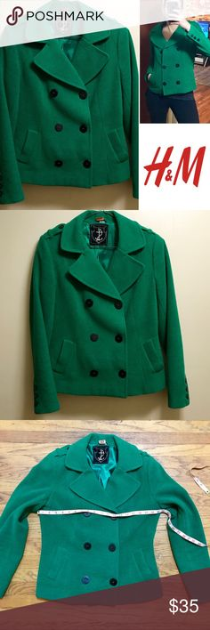 ☘️Beautiful Kelly Green Wool Peacoat from H&M☘️ 🍀🍀St Patrick's Day anyone?!? 🍀🍀Rich Kelly green wool blend peacoat from H&M. I can't find a size tag but I typically buy size large coats (though it may possibly be a medium) so I have included pictures with a tape measure. It is a true Kelly green like in pictures 1, 2, 5 &6. Lining is super cute with anchors all over it. In like new condition, no pilling, holes or stains. And I just spent $15 getting it dry cleaned. H&M Jackets & Coats…