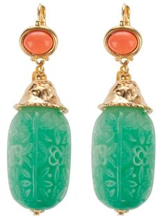 Green metal drop earrings from Kenneth Jay Lane Archive featuring gold-tone closures with orange stone detail and a green carved tear drop stone. Please note that vintage items are not new and might have minor imperfections. Bold Jewelry, Jade Jewelry, Jewelry Art, Jewelry Design, Women Jewelry, Unique Jewelry, Jewelry Accessories, Jewellery, Vintage Costume Jewelry