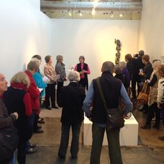 Marguerite Derricourt giving a floor talk about her work in 'Travelling Light'. On view until Saturday