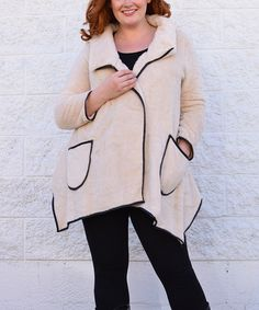 Look at this #zulilyfind! Beige & Black Fleece Coat - Plus by Simply Couture #zulilyfinds