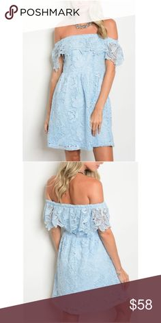 c5650480444c NWT - Tiffany Blue Off-The-Shoulder Lace Dress A darling dress for any