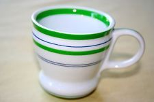 2007 Starbucks Coffee Mug 3oz Espresso Cup Green Stripe Small Demitasse