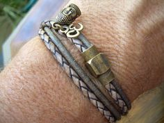 Leather Double Wrap Bracelet with Om and by UrbanSurvivalGearUSA