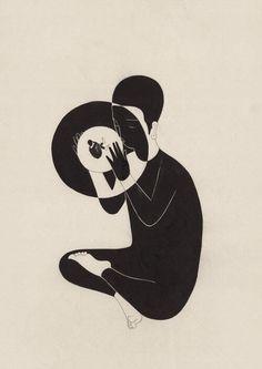 이중부정 / A double negative Op. - x 42 cm, 한지에 먹 / Korean ink on Korean paper, 2017 Art And Illustration, Illustrations, Kunst Inspo, Art Inspo, Black And White Drawing, Cool Art, Art Drawings, Contemporary Art, Abstract Art