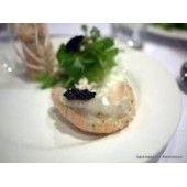 Salade van ganzenleverpate, truffel en scampi