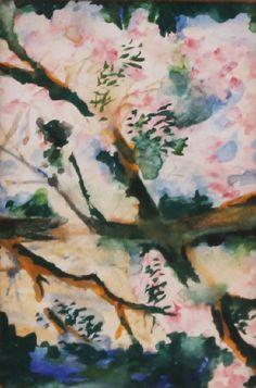 Natalia Goncharova (Russian, 1881-1962), Flowering branch. Watercolour, 8.5 x 5.5cm.