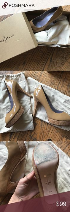 COLE HAAN TAN AIR PUMPS ! Worn a couple times but in perfect condition!! Very classy and simple shoe. With box and dust bags! Cole Haan Shoes Heels