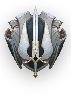 Universe of League of Legends Demacia League Of Legends, Fantasy Armor, Fantasy Weapons, Game Design, Icon Design, Game Props, Game Icon, Crests, Coat Of Arms