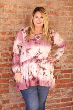 One Faith Boutique - Feel Your Love Tie-Dye Tunic With Criss-Cross Neck ~ Merlot ~ Sizes 12-18, $38.00 (https://www.onefaithboutique.com/new-arrivals/feel-your-love-tie-dye-tunic-with-criss-cross-neck-merlot-sizes-12-18/)