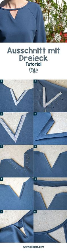 Tutorial: sewing a section with a triangle (Elle Puls)-Tutorial: Ausschnitt mit Dreieck nähen (Elle Puls) Tutorial: Sew a cutout with a triangle - Diy Clothing, Sewing Clothes, Clothing Patterns, Dress Patterns, Sewing Patterns, Crochet Patterns, Knitting Patterns, Sewing Hacks, Sewing Tutorials