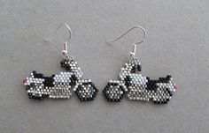 Motorcycle Earrings in delica seed beads on Etsy, $20.00