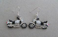 Motorcycle Earrings in delica seed beads by DsBeadedCrochetedEtc
