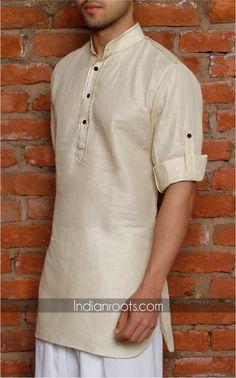 Beige cotton linen kurta featuring a mandarin collar by Anshul Rajwansh on Indianroots.com