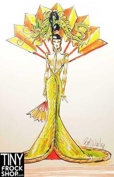 Bob Mackie Fantasy Goddess of Asia Barbie Signed Sketch - 13x15.5