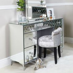 7 drawer dressing table featuring mirrored panels throughout with an etched quatrefoil design, 7 spacious drawers that are finished with sparkling crystal handles. Furniture, Dressing Room Mirror, Mirrored Furniture, 7 Drawer Dressing Table, Desk With Drawers, Bedside Cabinet, Venetian Furniture, Home And Living, Mirror
