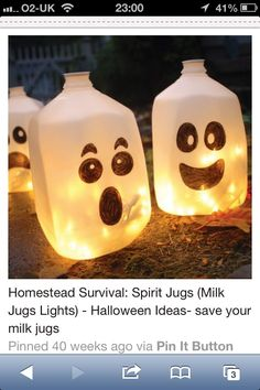 ghost decorations ghost decorations milk jug ghostsmilk cartonsfall halloweenhalloween - Milk Carton Halloween Ghosts