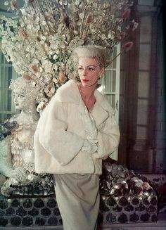 ~Short fur jacket, photo by Tom Kublin 1959 by Dovima....Balmain~