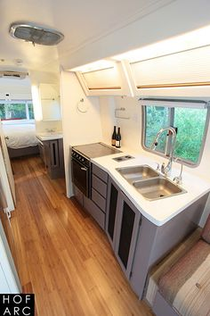 Airstream 310 Motorhome Renovation by Hofmann Architecture For Sale Airstream Living, Airstream Campers, Airstream Remodel, Trailer Remodel, Remodeled Campers, Camper Trailers, Travel Trailers, Camper Van, Airstream For Sale