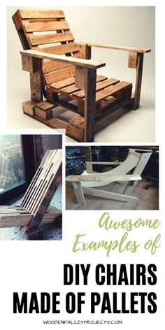 Check out these awesome examples of diy  chairs made of pallets. More than 20 ideas for pallet chairs designs that will look great in your home, outdoor patio and garden. #diypalletchairs #palletprojects #palletypcycling Pallet Chairs, Pallet Furniture Plans, Furniture Makeover, Rustic Wood Decor, Rustic Chair, Cool Woodworking Projects, Diy Pallet Projects, Pallet Ideas, Diy Chair