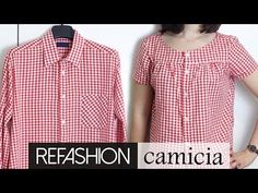 Refashion: from a men& shirt to a women& shirt Sewing Clothes, Diy Clothes, Youtube Clothing, Recycled Mens Shirt, Umgestaltete Shirts, Shirt Refashion, Altering Clothes, Dressmaking, Diy Fashion
