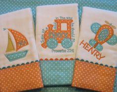 Grey and Orange Chevron burp cloth Boutique Burp Cloth Personalized Burp Cloths 3 Fox Embroidered