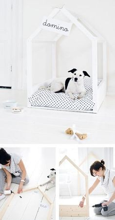DIY: A Très Elegant Dog Bed, Paris Edition Pompom, the shop dog at Le Petit Atelier in Paris, spends his days dozing in his own minimalist dog bed, custom made by the shop's owners. Diy Dog Bed, Cool Dog Beds, Pet Beds Diy, Casa Do Rock, Diy Lit, Dog Rooms, Diy Home Decor Projects, Dog Houses, Diy Stuffed Animals