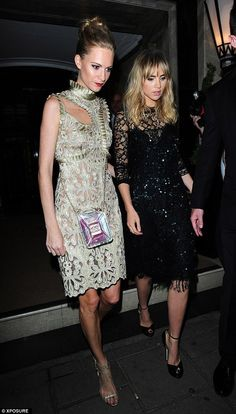 Stylish exit: Suki Waterhouse and Poppy Delevingne dressed to the nines for the special occasion