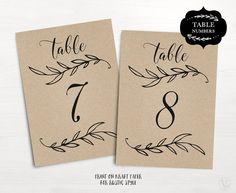 Greenery wedding table numbers template, printable reception table ...