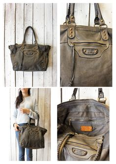 "Handmade Italian gray Leather Messenger Bag ""ZIPPER 12"" di LaSellerieLimited su Etsy"