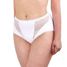 8b12739d6d Cotton For Body Women s Underwear Panties Pack Cotton Brief High Cut Lace  Trim Plus Size Undies